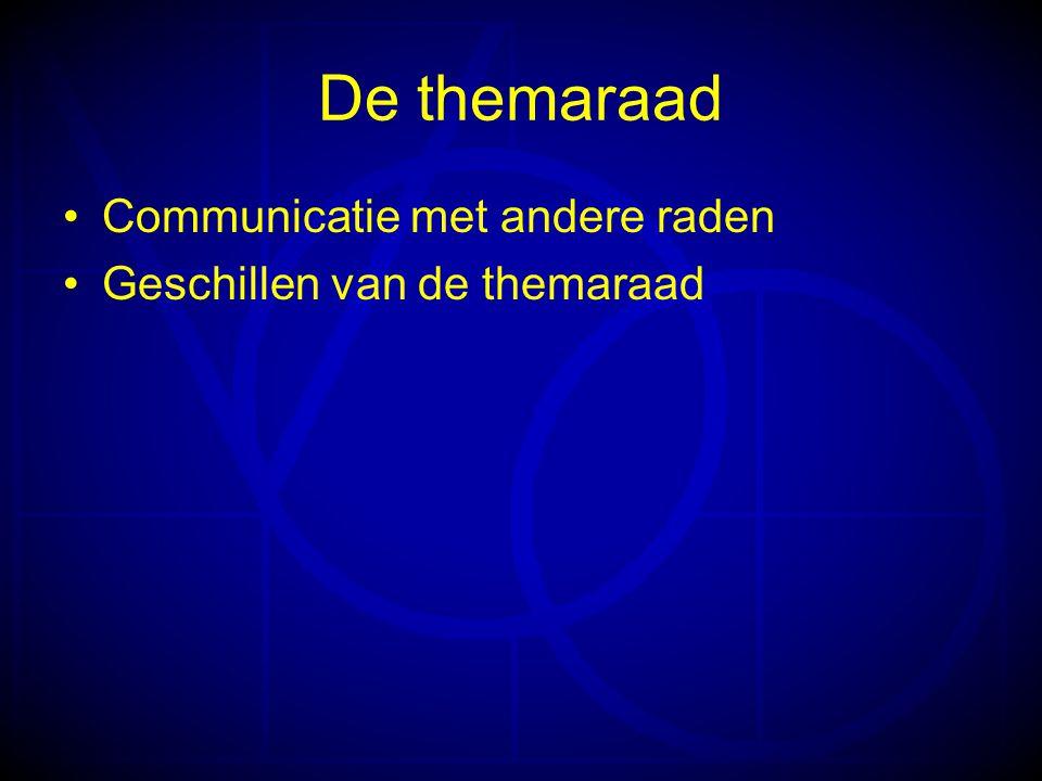 De themaraad Communicatie met andere raden Geschillen van de themaraad