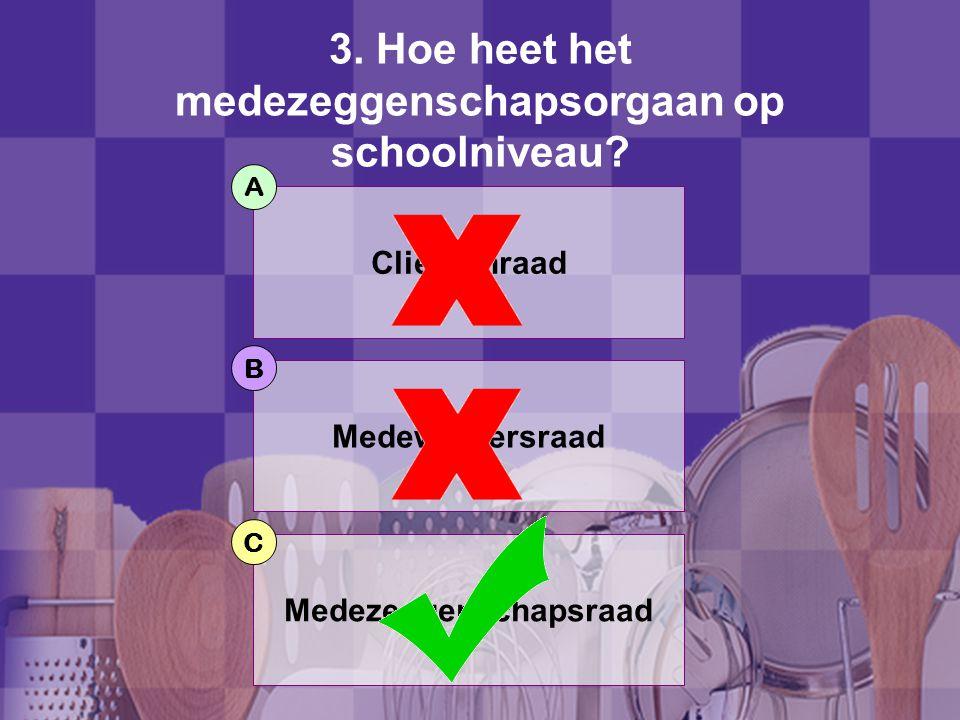 3.Hoe heet het medezeggenschapsorgaan op schoolniveau.