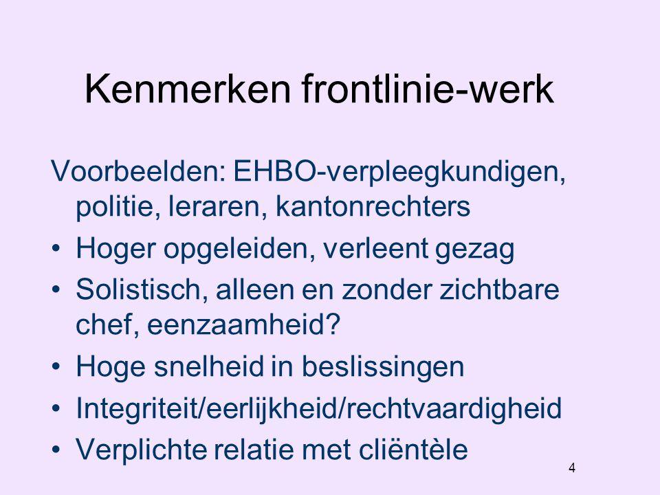 4 Kenmerken frontlinie-werk Voorbeelden: EHBO-verpleegkundigen, politie, leraren, kantonrechters Hoger opgeleiden, verleent gezag Solistisch, alleen en zonder zichtbare chef, eenzaamheid.