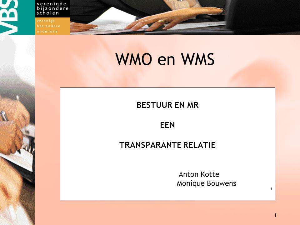 Destille kracht achter de VBS kracht achter kracht achter 1 WMO en WMS BESTUUR EN MR EEN TRANSPARANTE RELATIE Anton Kotte Monique Bouwens 1