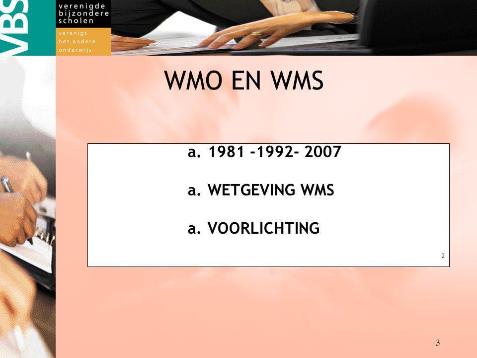 Destille kracht achter de VBS kracht achter kracht achter 3 WMO EN WMS a.1981 -1992- 2007 a.WETGEVING WMS a.VOORLICHTING 2
