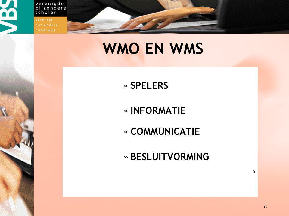 Destille kracht achter de VBS kracht achter kracht achter 6 WMO EN WMS »SPELERS »INFORMATIE »COMMUNICATIE »BESLUITVORMING 5