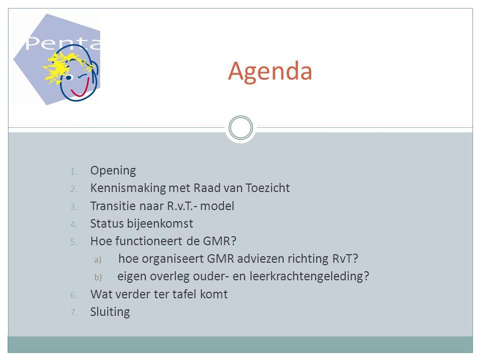 1.Opening 2. Kennismaking met Raad van Toezicht 3.
