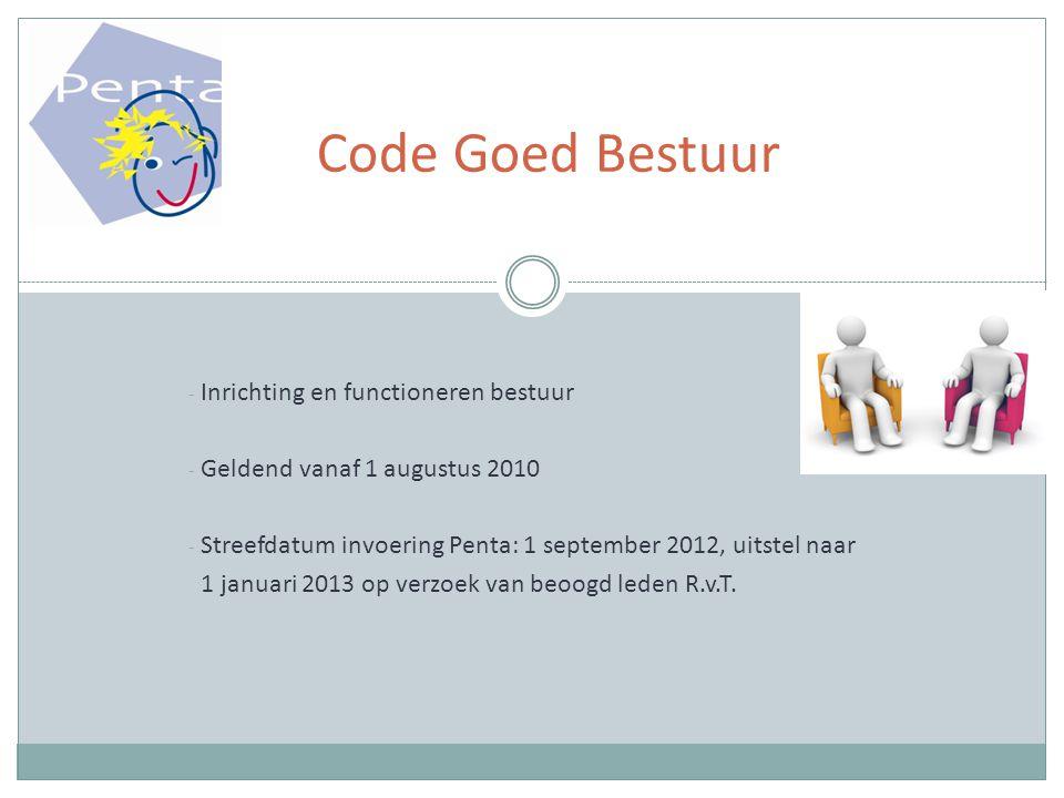- Inrichting en functioneren bestuur - Geldend vanaf 1 augustus 2010 - Streefdatum invoering Penta: 1 september 2012, uitstel naar 1 januari 2013 op verzoek van beoogd leden R.v.T.