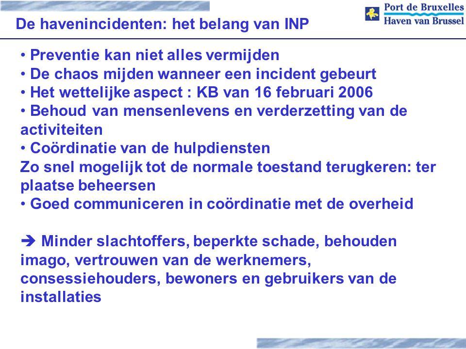 De havenincidenten: het belang van INP Preventie kan niet alles vermijden De chaos mijden wanneer een incident gebeurt Het wettelijke aspect : KB van