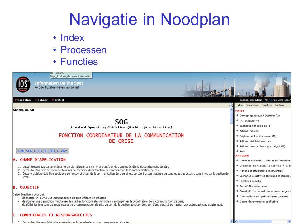 IOS Presentatie40/ Navigatie in Noodplan Index Processen Functies