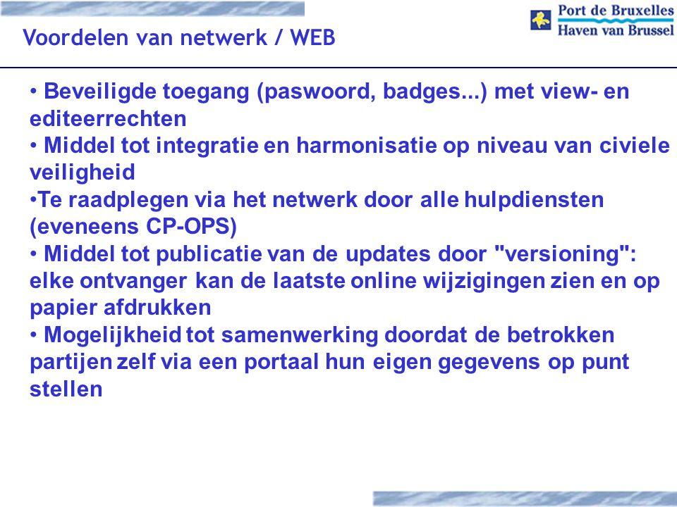 Voordelen van netwerk / WEB Beveiligde toegang (paswoord, badges...) met view- en editeerrechten Middel tot integratie en harmonisatie op niveau van c