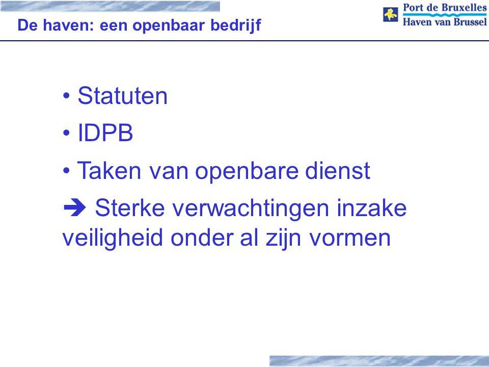 De haven: een openbaar bedrijf Statuten IDPB Taken van openbare dienst  Sterke verwachtingen inzake veiligheid onder al zijn vormen
