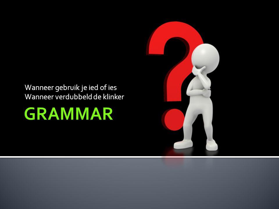  Als een (werk)woord eindigd op een medeklinker + y.