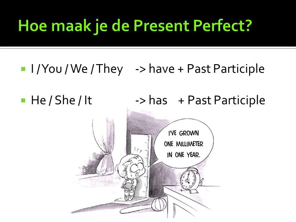 De Past Participle is het voltooid deelwoord.