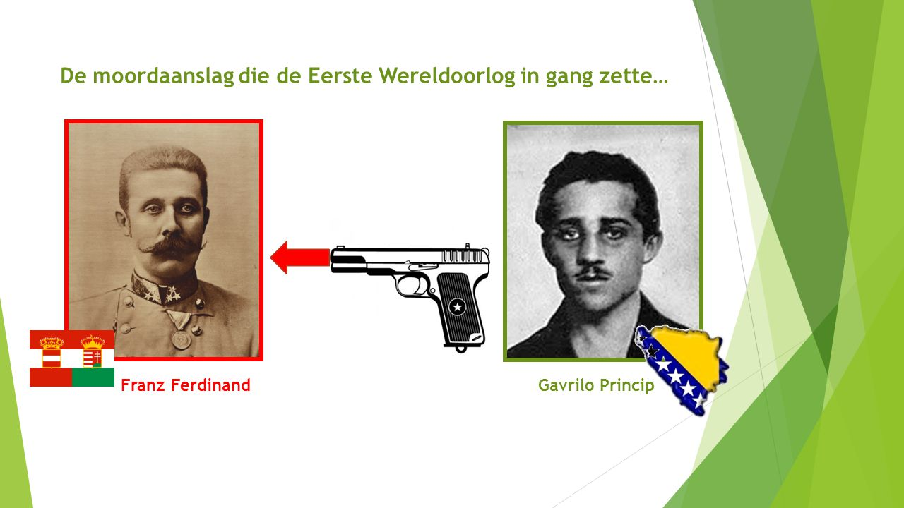 Franz FerdinandGavrilo Princip De moordaanslag die de Eerste Wereldoorlog in gang zette…