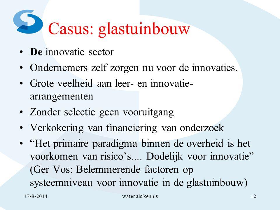 Casus: glastuinbouw De innovatie sector Ondernemers zelf zorgen nu voor de innovaties.