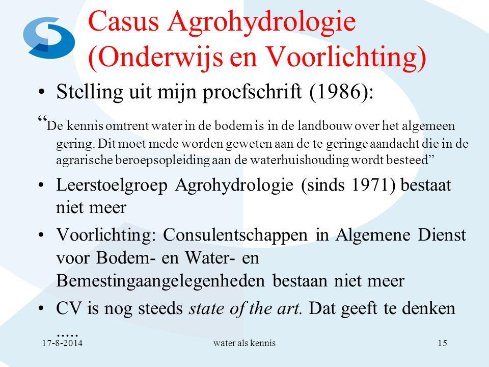 Casus Agrohydrologie (Onderwijs en Voorlichting) Stelling uit mijn proefschrift (1986): De kennis omtrent water in de bodem is in de landbouw over het algemeen gering.