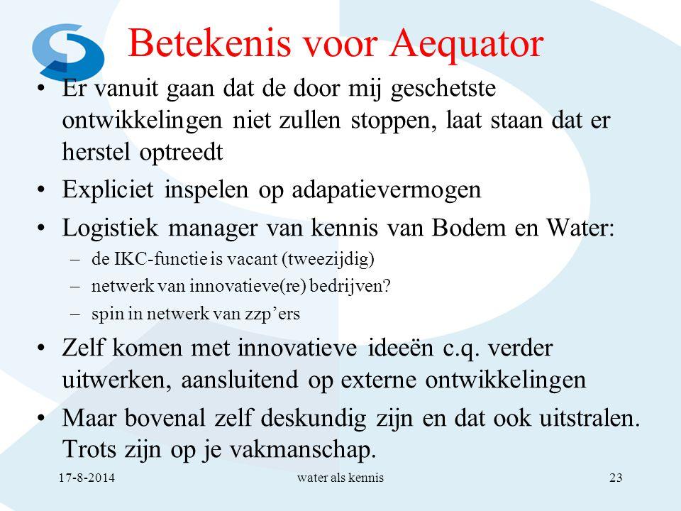 Betekenis voor Aequator Er vanuit gaan dat de door mij geschetste ontwikkelingen niet zullen stoppen, laat staan dat er herstel optreedt Expliciet inspelen op adapatievermogen Logistiek manager van kennis van Bodem en Water: –de IKC-functie is vacant (tweezijdig) –netwerk van innovatieve(re) bedrijven.