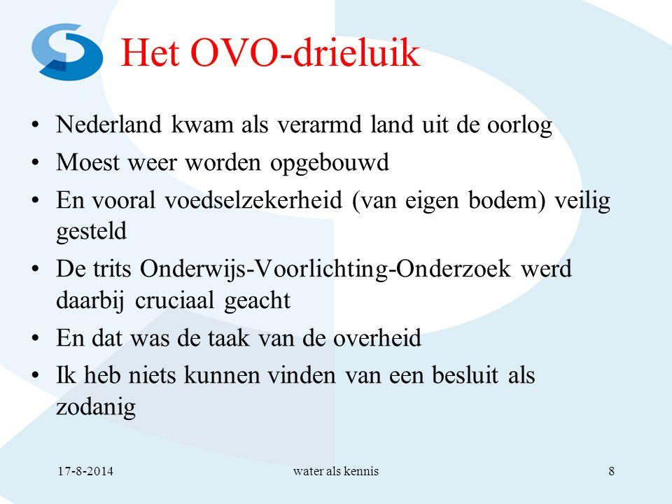 Het OVO-drieluik Nederland kwam als verarmd land uit de oorlog Moest weer worden opgebouwd En vooral voedselzekerheid (van eigen bodem) veilig gesteld De trits Onderwijs-Voorlichting-Onderzoek werd daarbij cruciaal geacht En dat was de taak van de overheid Ik heb niets kunnen vinden van een besluit als zodanig 17-8-2014water als kennis8