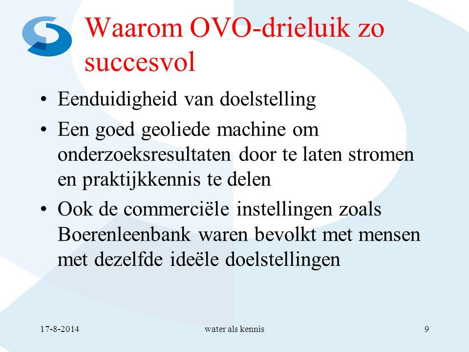 Waarom OVO-drieluik zo succesvol Eenduidigheid van doelstelling Een goed geoliede machine om onderzoeksresultaten door te laten stromen en praktijkkennis te delen Ook de commerciële instellingen zoals Boerenleenbank waren bevolkt met mensen met dezelfde ideële doelstellingen 17-8-2014water als kennis9