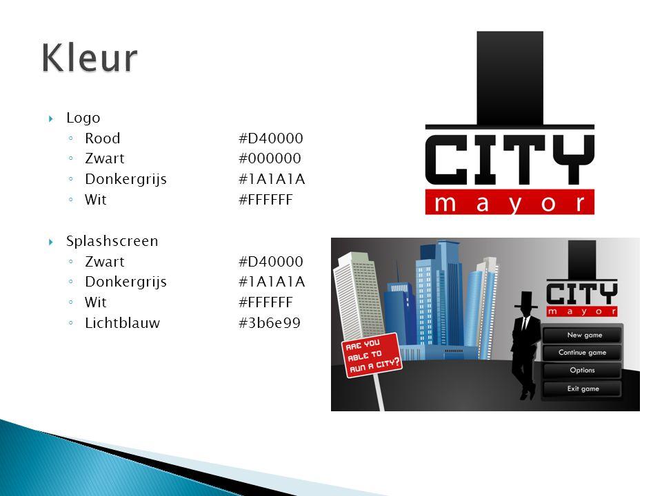  Logo ◦ Rood #D40000 ◦ Zwart#000000 ◦ Donkergrijs#1A1A1A ◦ Wit#FFFFFF  Splashscreen ◦ Zwart #D40000 ◦ Donkergrijs#1A1A1A ◦ Wit#FFFFFF ◦ Lichtblauw#3b6e99