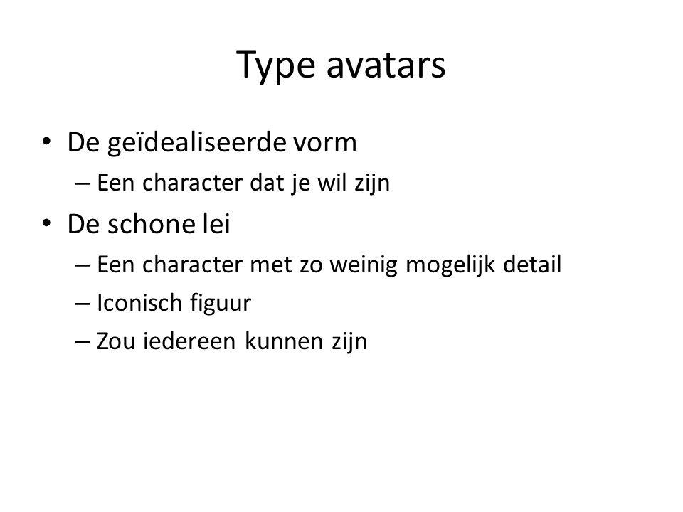 Type avatars De geïdealiseerde vorm – Een character dat je wil zijn De schone lei – Een character met zo weinig mogelijk detail – Iconisch figuur – Zo
