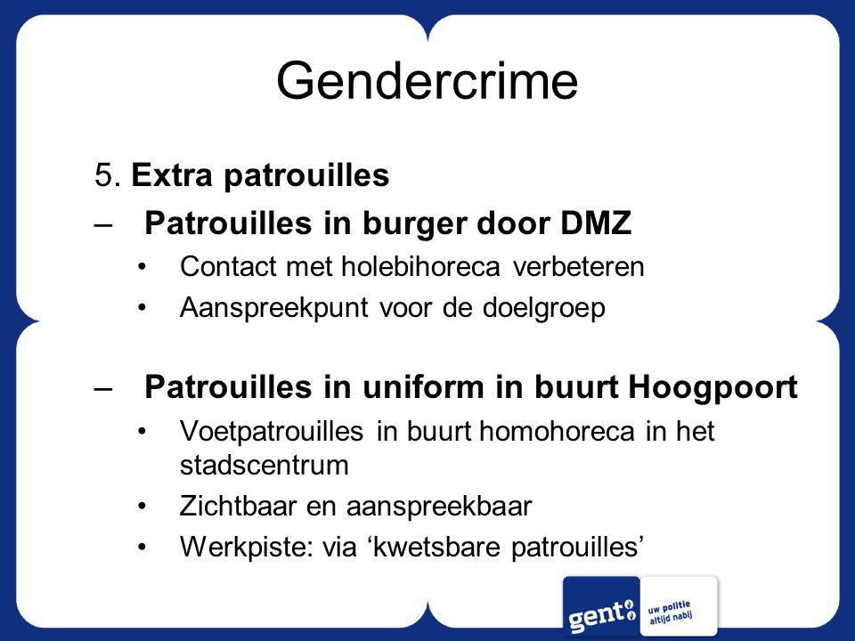 Gendercrime 5. Extra patrouilles –Patrouilles in burger door DMZ Contact met holebihoreca verbeteren Aanspreekpunt voor de doelgroep –Patrouilles in u