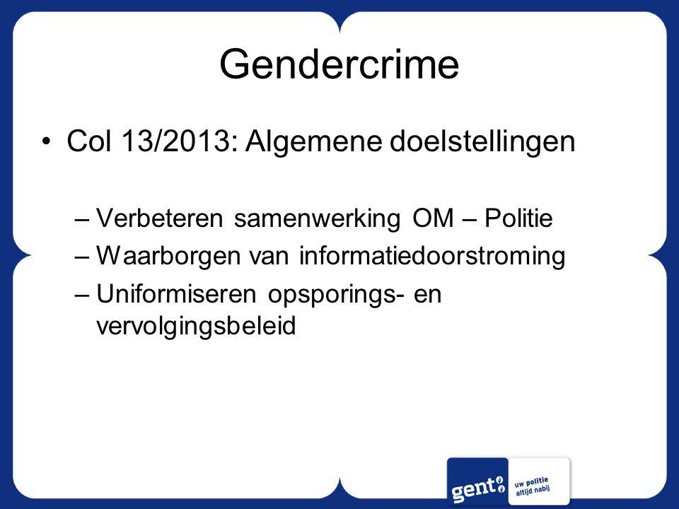 Gendercrime Col 13/2013: Algemene doelstellingen –Verbeteren samenwerking OM – Politie –Waarborgen van informatiedoorstroming –Uniformiseren opsporings- en vervolgingsbeleid