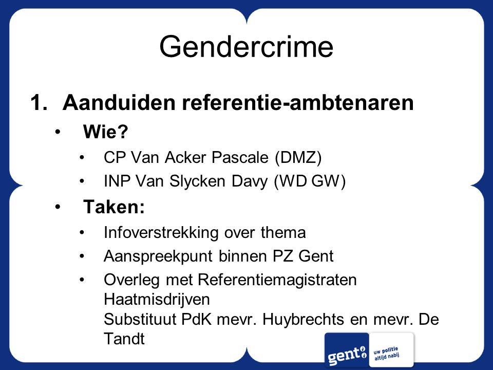 Gendercrime 1.Aanduiden referentie-ambtenaren Wie? CP Van Acker Pascale (DMZ) INP Van Slycken Davy (WD GW) Taken: Infoverstrekking over thema Aanspree