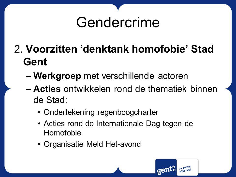 Gendercrime 2. Voorzitten 'denktank homofobie' Stad Gent –Werkgroep met verschillende actoren –Acties ontwikkelen rond de thematiek binnen de Stad: On