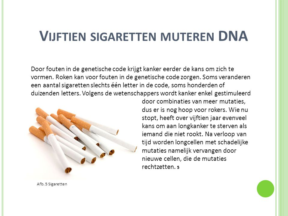 V IJFTIEN SIGARETTEN MUTEREN DNA Door fouten in de genetische code krijgt kanker eerder de kans om zich te vormen. Roken kan voor fouten in de genetis