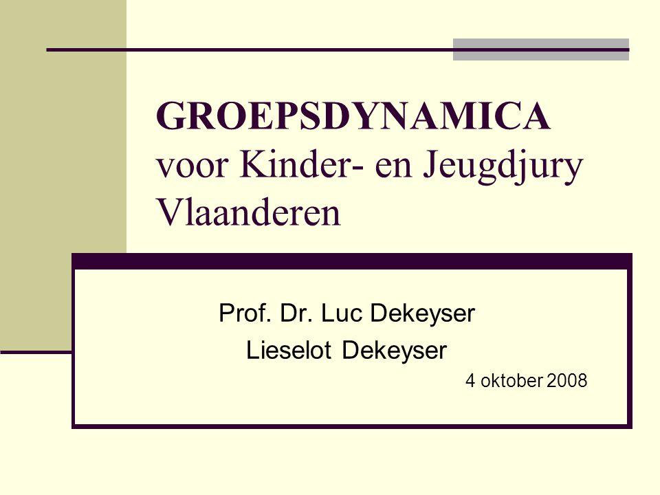 GROEPSDYNAMICA voor Kinder- en Jeugdjury Vlaanderen Prof. Dr. Luc Dekeyser Lieselot Dekeyser 4 oktober 2008