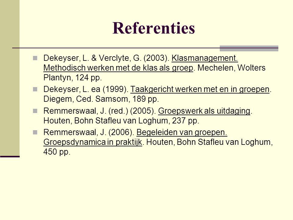 Referenties Dekeyser, L. & Verclyte, G. (2003). Klasmanagement. Methodisch werken met de klas als groep. Mechelen, Wolters Plantyn, 124 pp. Dekeyser,
