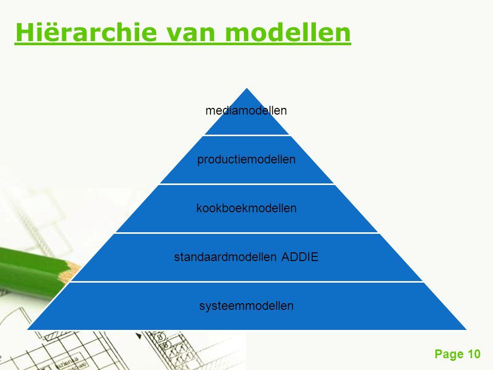 Page 10 Hiërarchie van modellen mediamodellen productiemodellen kookboekmodellen standaardmodellen ADDIE systeemmodellen
