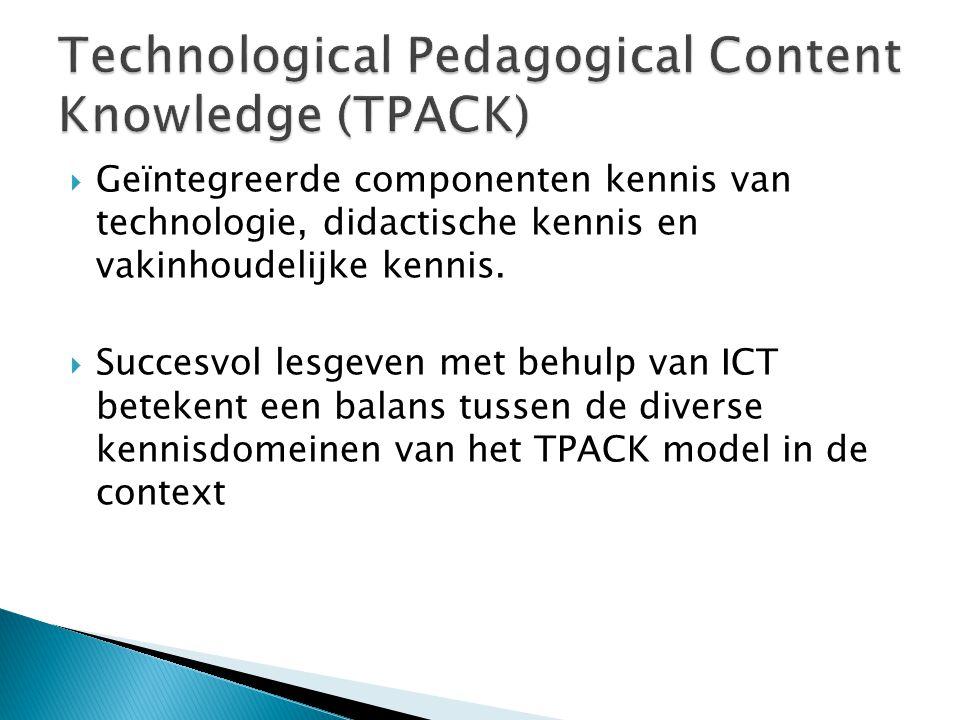  Geïntegreerde componenten kennis van technologie, didactische kennis en vakinhoudelijke kennis.  Succesvol lesgeven met behulp van ICT betekent een