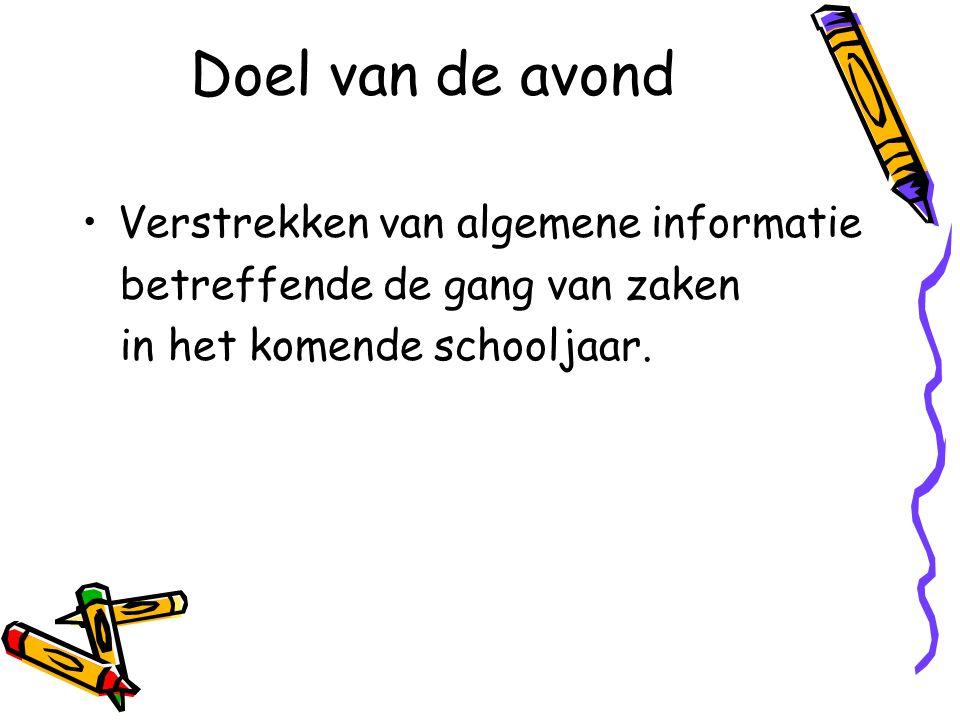 Doel van de avond Verstrekken van algemene informatie betreffende de gang van zaken in het komende schooljaar.