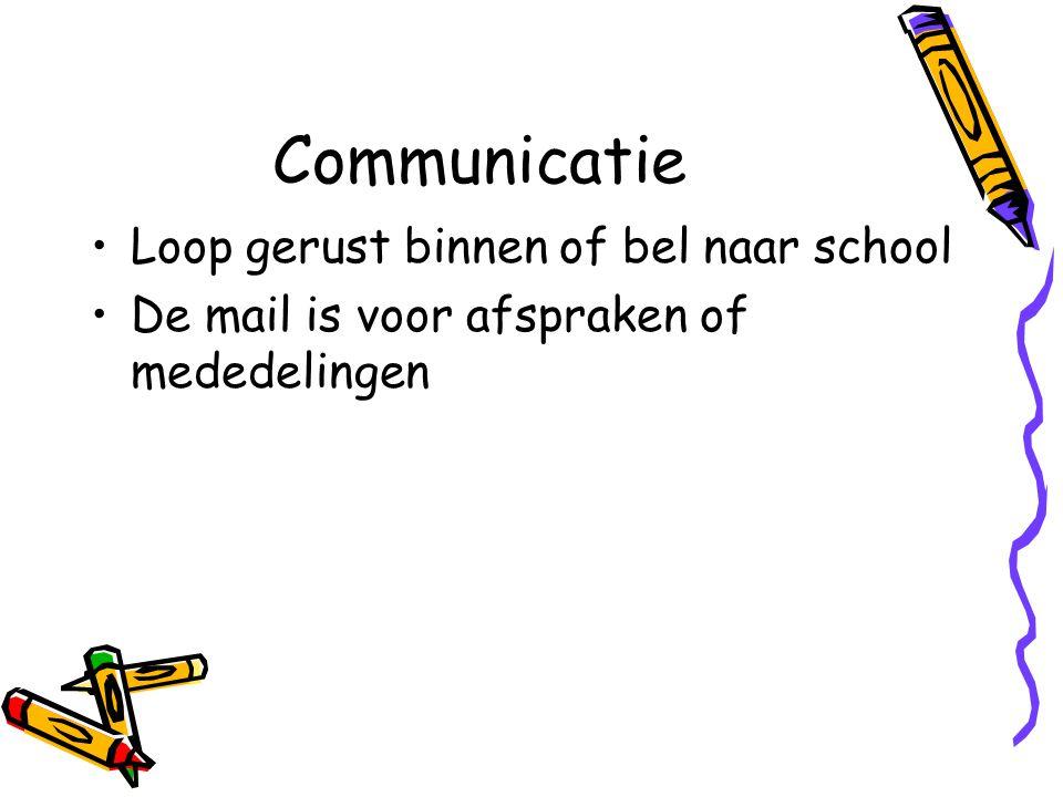 Communicatie Loop gerust binnen of bel naar school De mail is voor afspraken of mededelingen