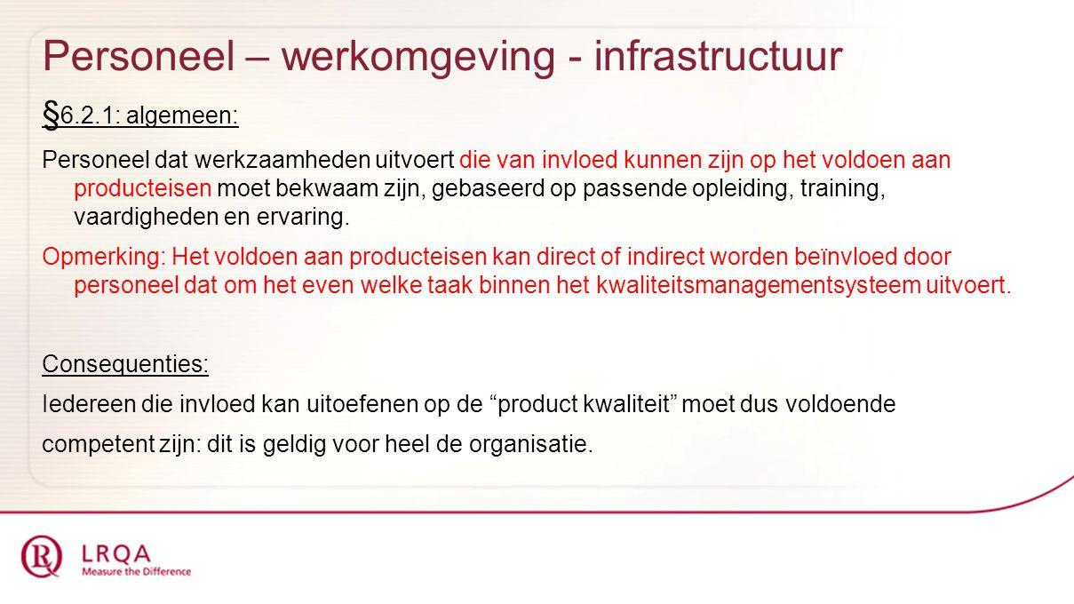 Personeel – werkomgeving - infrastructuur § 6.2.1: algemeen: Personeel dat werkzaamheden uitvoert die van invloed kunnen zijn op het voldoen aan produ