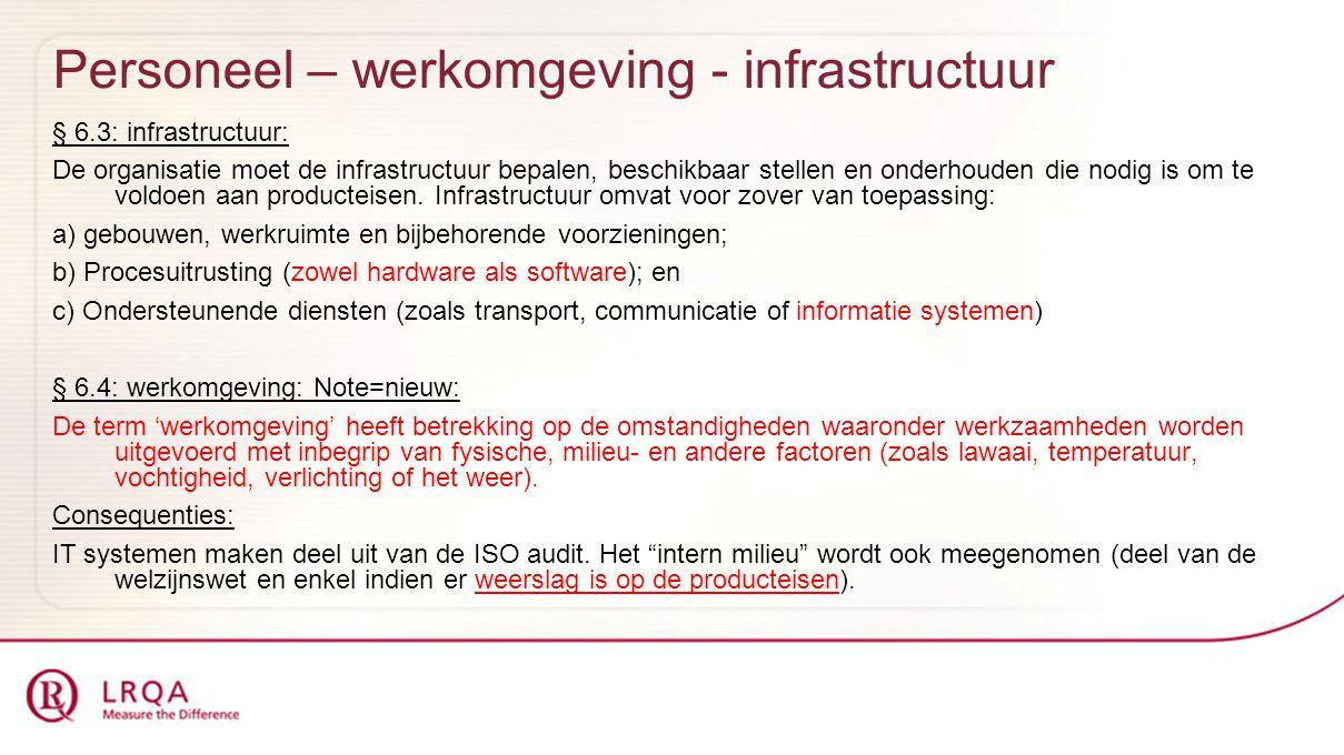 Personeel – werkomgeving - infrastructuur § 6.3: infrastructuur: De organisatie moet de infrastructuur bepalen, beschikbaar stellen en onderhouden die nodig is om te voldoen aan producteisen.