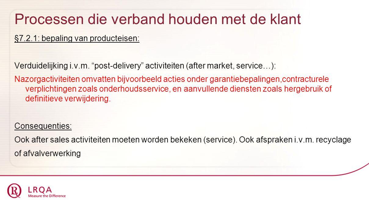 """Processen die verband houden met de klant §7.2.1: bepaling van producteisen: Verduidelijking i.v.m. """"post-delivery"""" activiteiten (after market, servic"""