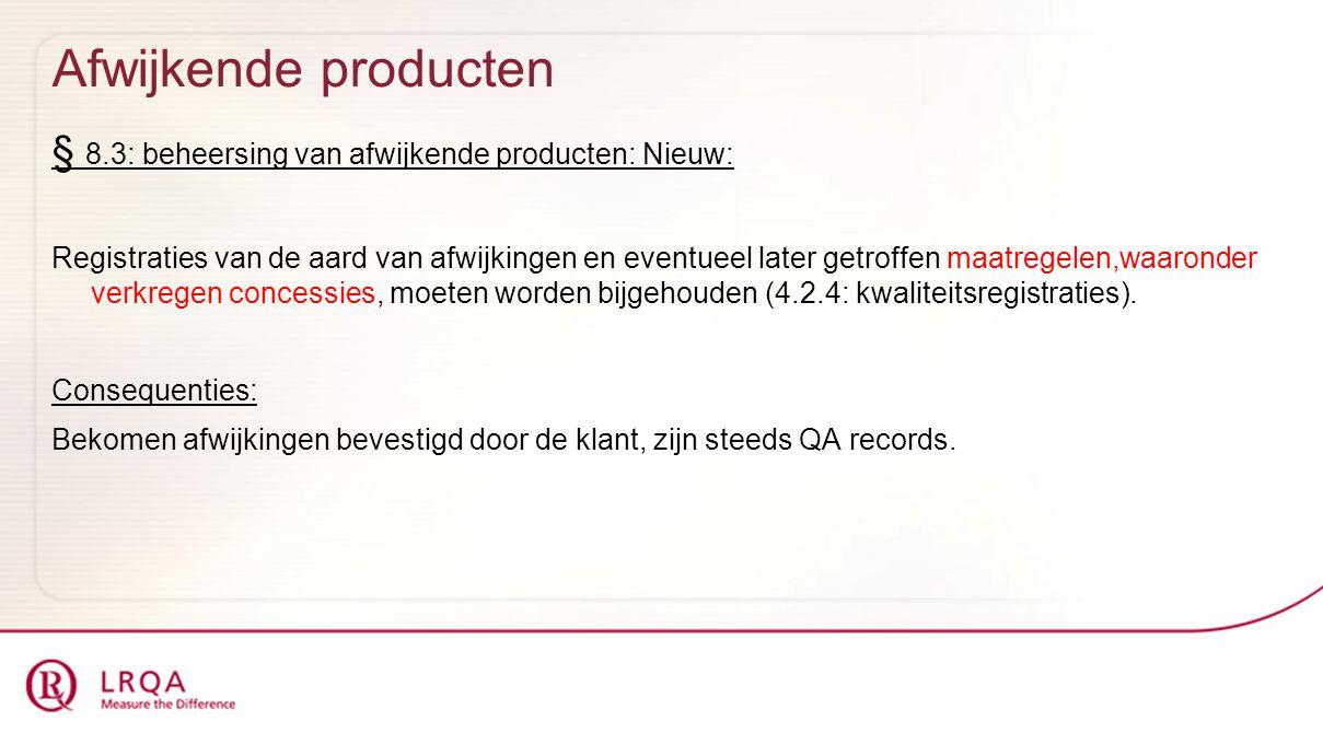 Afwijkende producten § 8.3: beheersing van afwijkende producten: Nieuw: Registraties van de aard van afwijkingen en eventueel later getroffen maatrege