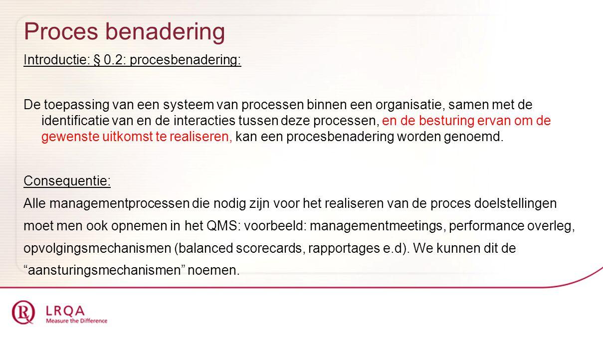Proces benadering Introductie: § 0.2: procesbenadering: De toepassing van een systeem van processen binnen een organisatie, samen met de identificatie van en de interacties tussen deze processen, en de besturing ervan om de gewenste uitkomst te realiseren, kan een procesbenadering worden genoemd.