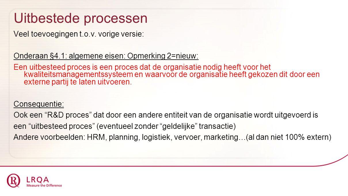 Uitbestede processen Veel toevoegingen t.o.v. vorige versie: Onderaan §4.1: algemene eisen: Opmerking 2=nieuw: Een uitbesteed proces is een proces dat