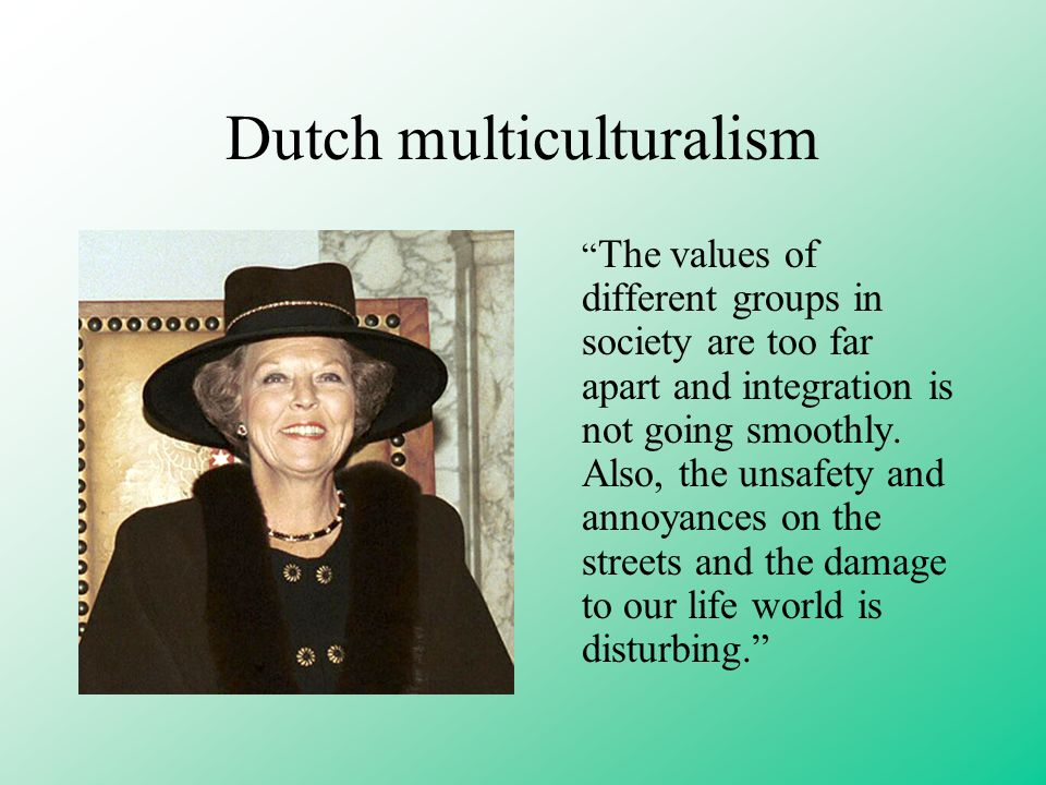 Dutch multiculturalism The values of different groups in society are too far apart and integration is not going smoothly.
