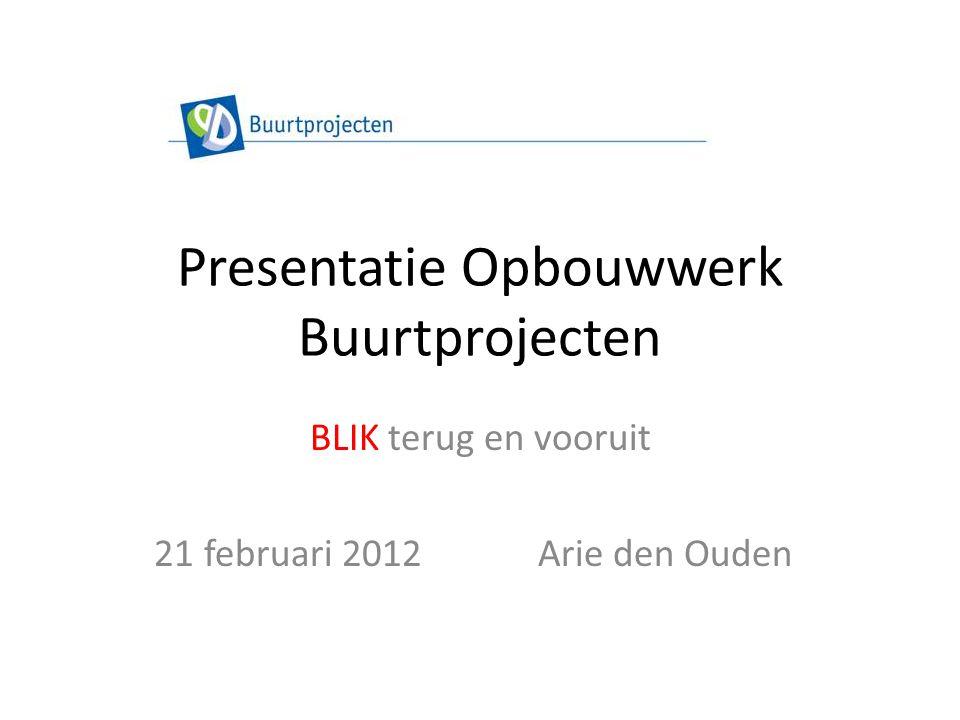 Presentatie Opbouwwerk Buurtprojecten BLIK terug en vooruit 21 februari 2012Arie den Ouden
