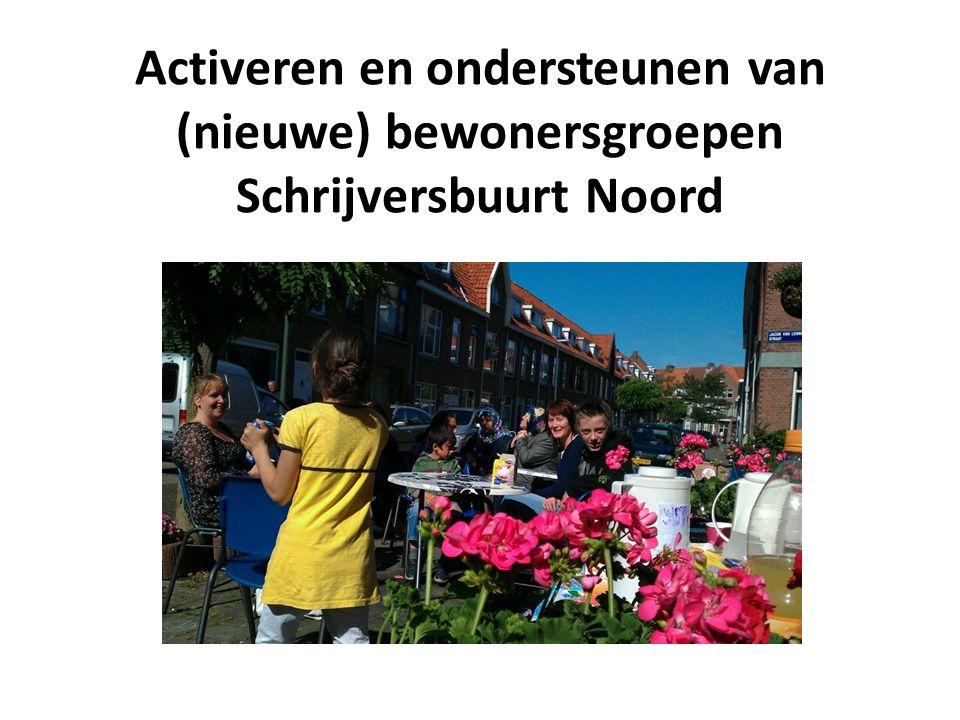 Activeren en ondersteunen van (nieuwe) bewonersgroepen Schrijversbuurt Noord