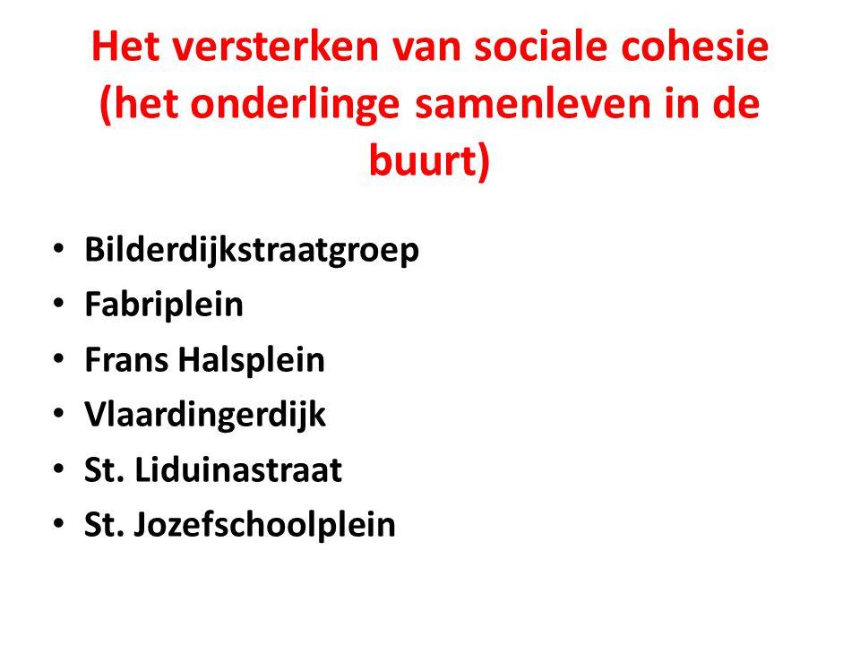 Het versterken van sociale cohesie (het onderlinge samenleven in de buurt) Bilderdijkstraatgroep Fabriplein Frans Halsplein Vlaardingerdijk St.
