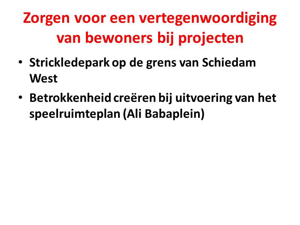 Zorgen voor een vertegenwoordiging van bewoners bij projecten Strickledepark op de grens van Schiedam West Betrokkenheid creëren bij uitvoering van het speelruimteplan (Ali Babaplein)