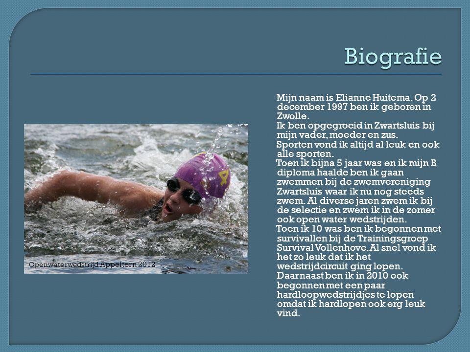 Mijn naam is Elianne Huitema. Op 2 december 1997 ben ik geboren in Zwolle. Ik ben opgegroeid in Zwartsluis bij mijn vader, moeder en zus. Sporten vond