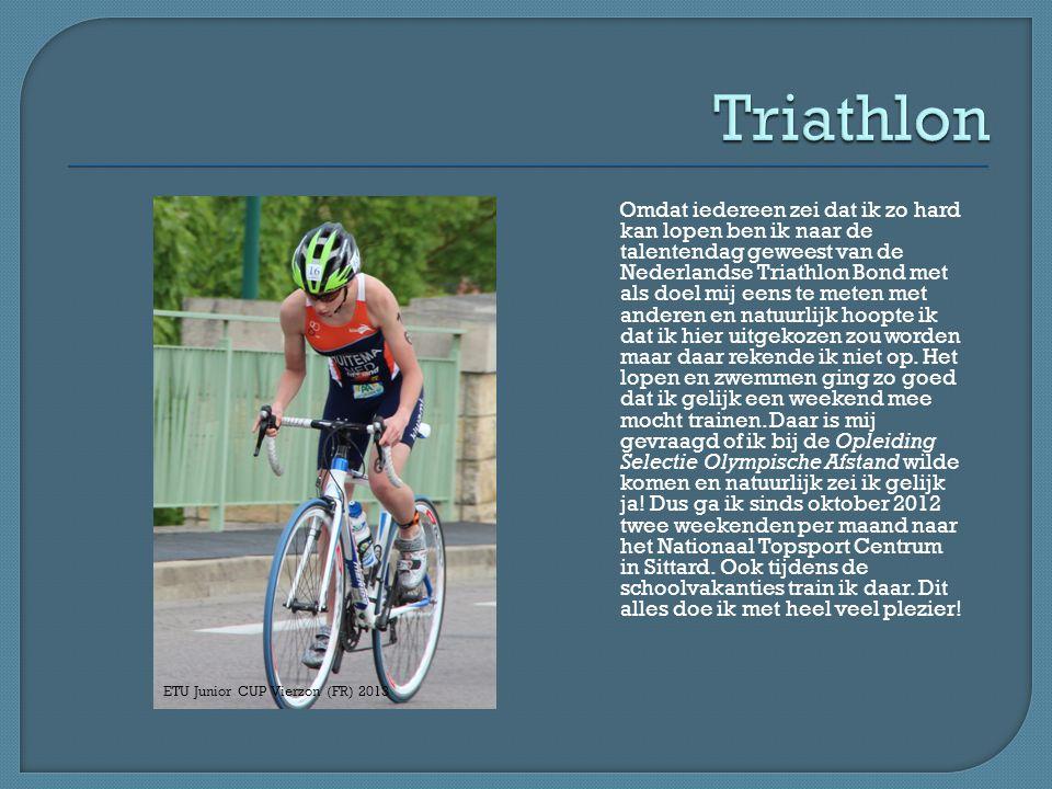 Omdat iedereen zei dat ik zo hard kan lopen ben ik naar de talentendag geweest van de Nederlandse Triathlon Bond met als doel mij eens te meten met anderen en natuurlijk hoopte ik dat ik hier uitgekozen zou worden maar daar rekende ik niet op.