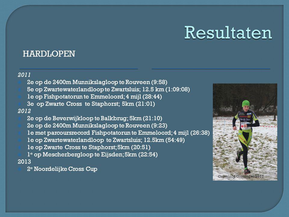 HARDLOPEN 2011  2e op de 2400m Munnikslagloop te Rouveen (9:58)  5e op Zwartewaterlandloop te Zwartsluis; 12.5 km (1:09:08)  1e op Fishpotatorun te Emmeloord; 4 mijl (28:44)  3e op Zwarte Cross te Staphorst; 5km (21:01) 2012  2e op de Beverwijkloop te Balkbrug; 5km (21:10)  2e op de 2400m Munnikslagloop te Rouveen (9:23)  1e met parcoursrecord Fishpotatorun te Emmeloord; 4 mijl (26:38)  1e op Zwartewaterlandloop te Zwartsluis; 12.5km (54:49)  1e op Zwarte Cross te Staphorst; 5km (20:51)  1 e op Mescherbergloop te Eijsden; 5km (22:54) 2013  2 e Noordelijke Cross Cup Crossloop Groningen 2013