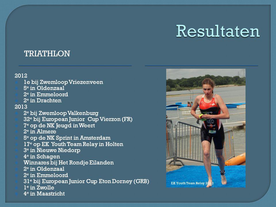TRIATHLON 2012  1e bij Zwemloop Vriezenveen  5 e in Oldenzaal  2 e in Emmeloord  2 e in Drachten 2013  2 e bij Zwemloop Valkenburg  32 e bij Eur