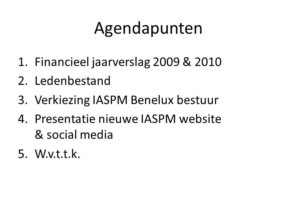 Agendapunten 1.Financieel jaarverslag 2009 & 2010 2.Ledenbestand 3.Verkiezing IASPM Benelux bestuur 4.Presentatie nieuwe IASPM website & social media