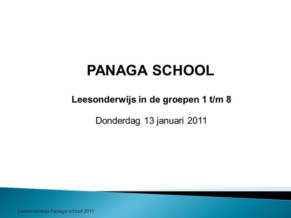 Leesonderwijs Panaga school 2011 PANAGA SCHOOL Leesonderwijs in de groepen 1 t/m 8 Donderdag 13 januari 2011